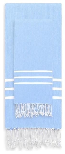 Linum Home Alara Turkish Pestemal Beach Towel Set, Sky Blue, 38x23, White, T.
