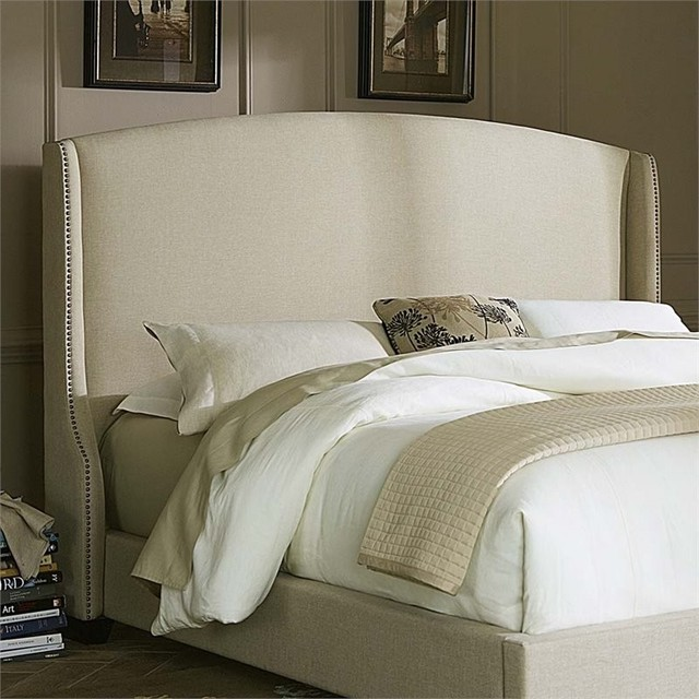 Liberty Furniture Linen Upholstered King Wing Headboard, Natural.