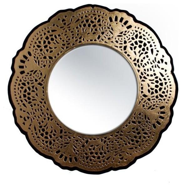 Crochet Lacq Round Mirror, 120 cm