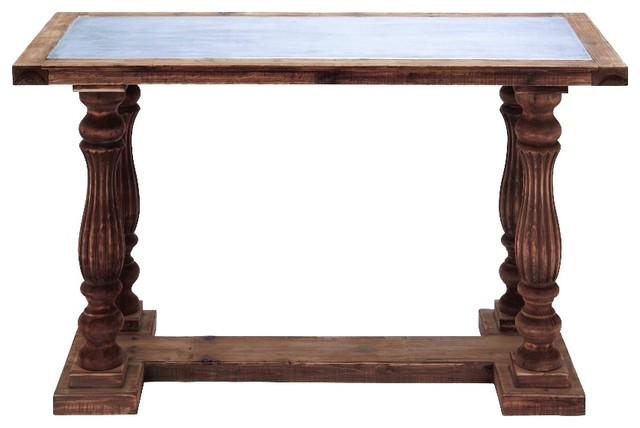 Traditional Wood Table Metal Inlay Top Pillar Legs Dining Furniture Decor  traditional-console-tables