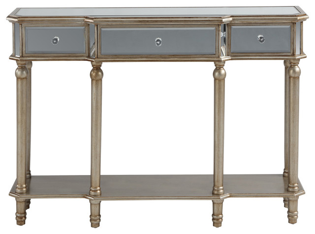 3 Drawer Mirrored Console Table Contemporary Console