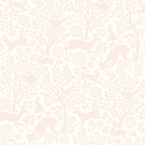 Anahi Light Pink Forest Fauna Wallpaper Bolt