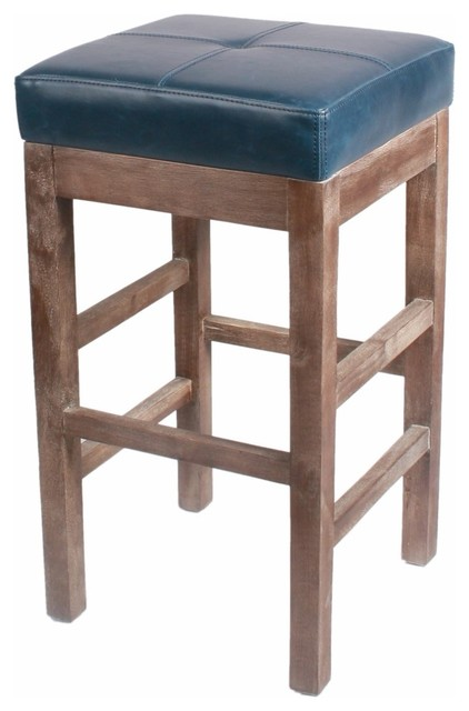Valencia Bonded Leather Counter Stool With Driftwood Legs, Vintage Blue.