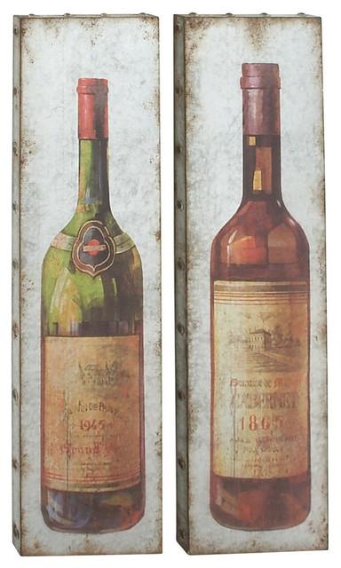 Metal Vintage Wine Bottle Wall Decor 2 Piece 13x47 Rustic