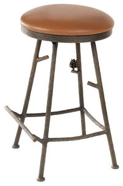 Backless Counter Stool Standard Leather Black Leather