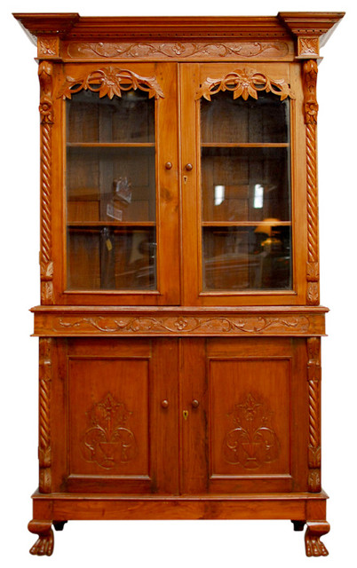 Dutch Colonial Carved Teak Library Cabinet