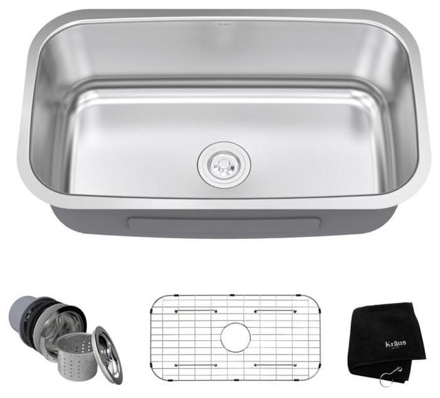 """Kraus 31.5"""" Undermount Single Bowl 16 Gauge Stainless Steel Kitchen Sink"""