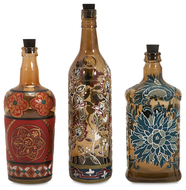 Contemporary Multi Set Of 3 Reclaimed Hand Painted Bottles Decor