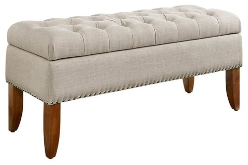 Hinged Top Button Tufted Storage Bed Bench in Beige