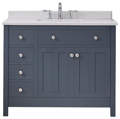 "Newcastle 42"" Undermount Single Sink Vanity With Marble Top, Dark Charcoal."
