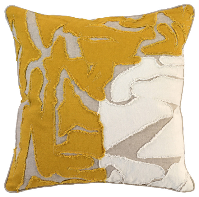 """Jem Embroidered 22"""" Throw Pillow By Kosas Home, Yellow."""