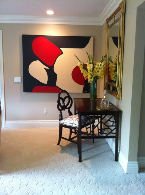 Traditional Living Room With Modern Abstract Art