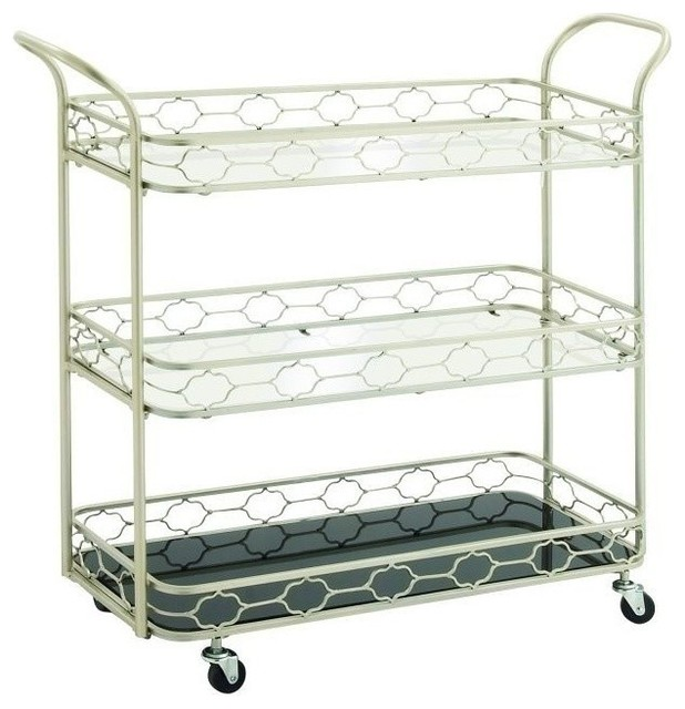 Watts Metal And Mirror 3-Tier Bar Cart.