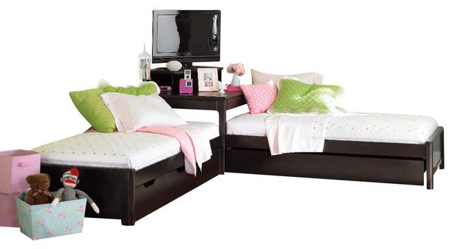 Lea Midtown 2 Twin Platform Beds With Corner Unit In Dark Chocolate Traditional Kids Beds