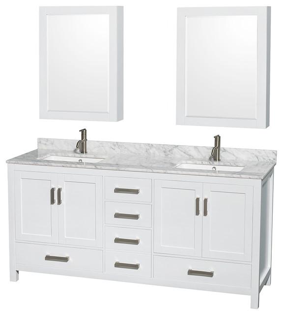"Sheffield 72"" Double Bathroom Vanity, White, Medicine Cabinet."
