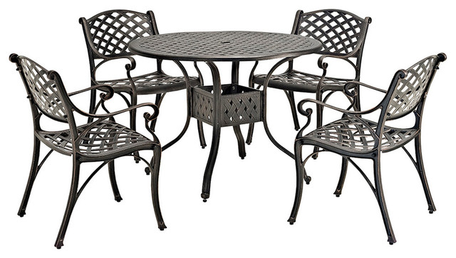 5 Piece Cast Aluminum Dining Set Traditional Outdoor Dining Sets