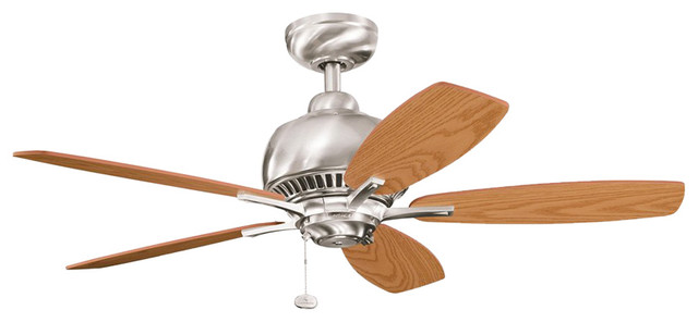 Brushed Stainless Steel 42 Ceiling Fan With Light Oak/medium.