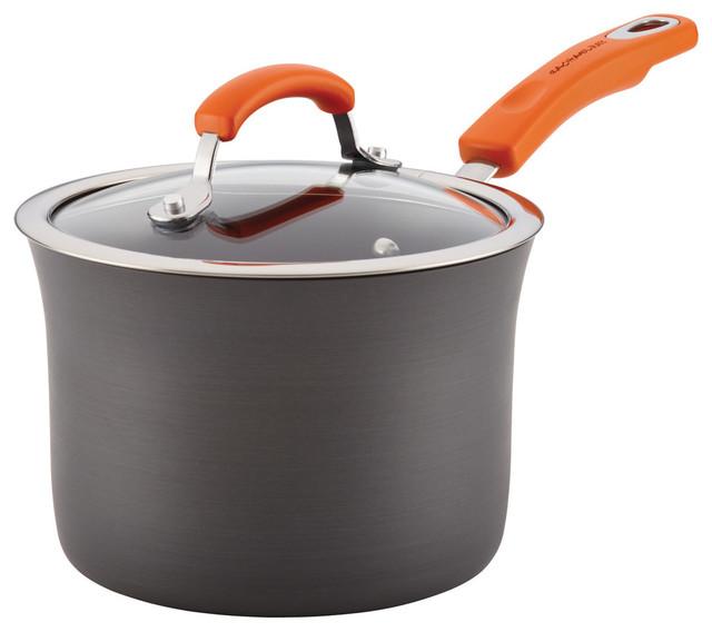Hard-Anodized Aluminum Nonstick 3-Quart Covered Saucepan, Gray, Orange Handle.