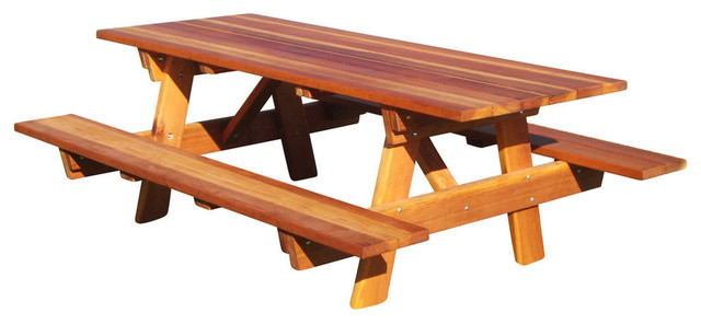 Incroyable .75 Round Corner Picnic Table With Attached Bench, Light Super Deck,  30.5x54x48 .