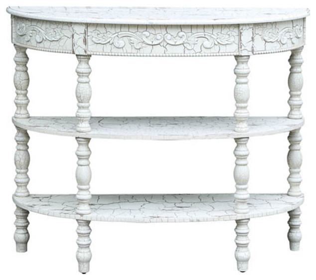Crestview collection genevieve antique crackled white demilune console console tables houzz White demilune console table