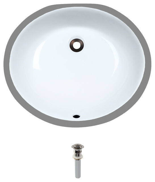 Undermount Porcelain Sink, White, Brushed Nickel Pop-Up Drain.