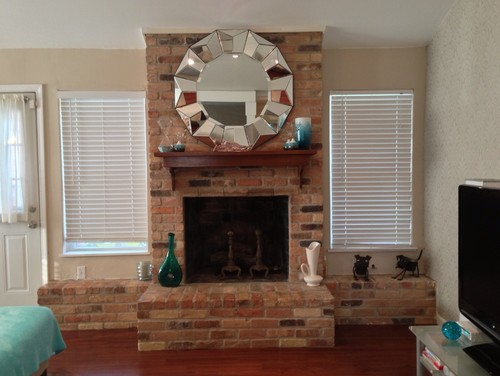 Paint white wash or completely cover my ugly awkward - How to cover brick fireplace ...