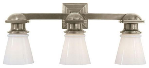 New 3 Light Bathroom Vanity Lighting Fixture Platinum: Visual Comfort Lighting E.F. Chapman New York Subway 3