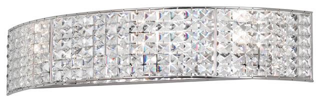 Dainolite Crystal Vanity Fixture, Polished Chrome Bathroom Vanity Lighting