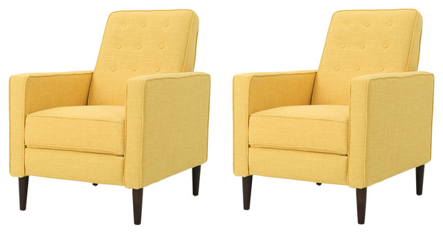 Mason Mid-Century Modern Tuft Back Recliner, Fabric/muted Yellow, Set Of 2