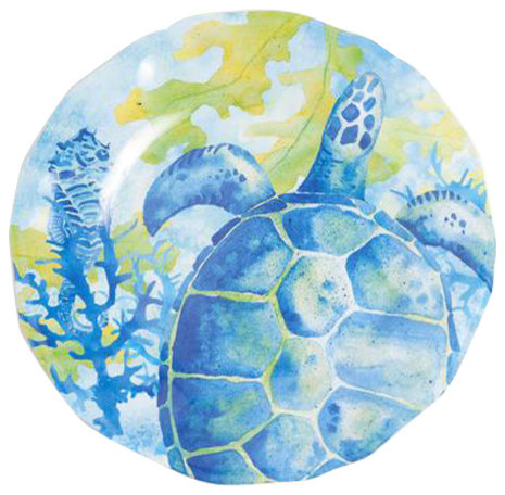 Galleyware Sea Turtle Melamine Non Skid Dinner Plates Set Of 6