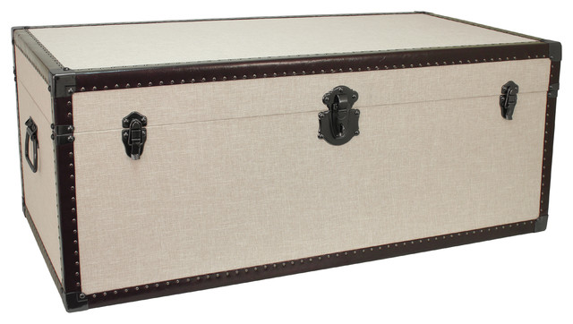 madison collection trunk coffee table linen industrial. Black Bedroom Furniture Sets. Home Design Ideas