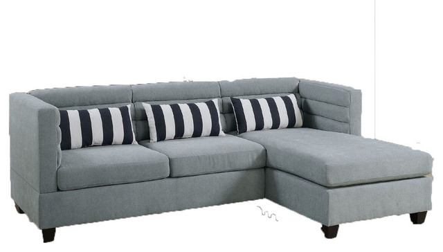 Aarhus Sectional Sofa, Gray Velvet Cloth With Vertical Stripped Accent.
