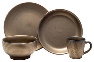 Teton 16-Piece Dinnerware Set Rubbed Gold - Modern - Dinnerware Sets - by Tablescapes  sc 1 st  Houzz & Teton 16-Piece Dinnerware Set Rubbed Gold - Modern - Dinnerware ...