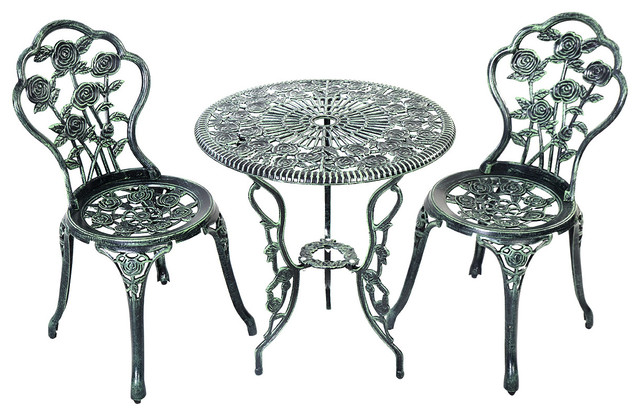 Costway Patio Furniture Cast Aluminum Rose Design Bistro Set Antique Green Traditional Outdoor Pub And Tables By Goplus Corp