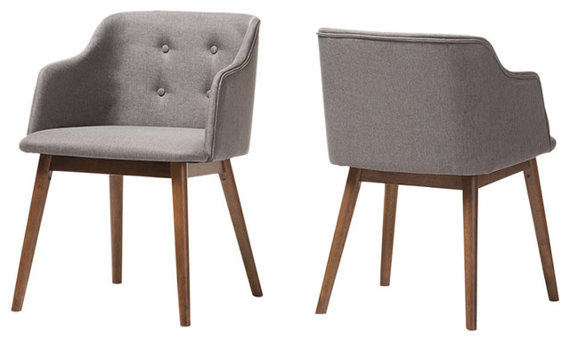 Harrison Mid Century Modern Accent Chairs, Set of 2, Gray