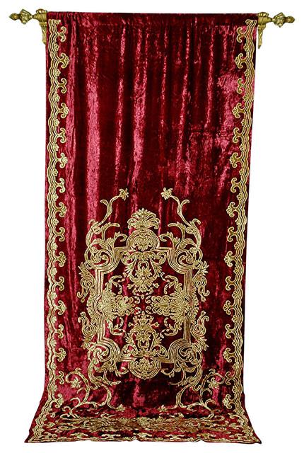 Debage Applique Velvet Curtain In Burgundy