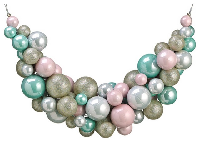 "Pastel Dreams Pink And Seafoam Green Glittered Shatterproof Ball Swag, 28""."