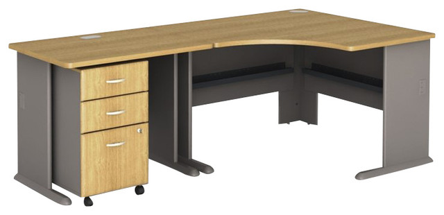 bush series a 3piece corner computer desk in light oak