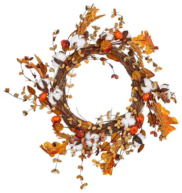 """Cotton With Lvs And Mini Pumpkins Wreath On Natural Twig Base, 22""""."""