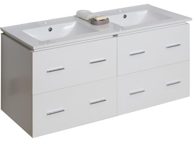 Plywood-Veneer Vanity Set, White.