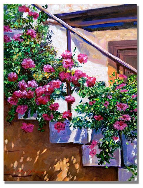 Stairway Floral Canvas Art By David Lloyd Glover