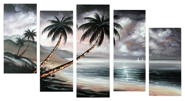 """""""cloudy Sky"""" Modern Landscape Painting, 60""""x32""""."""