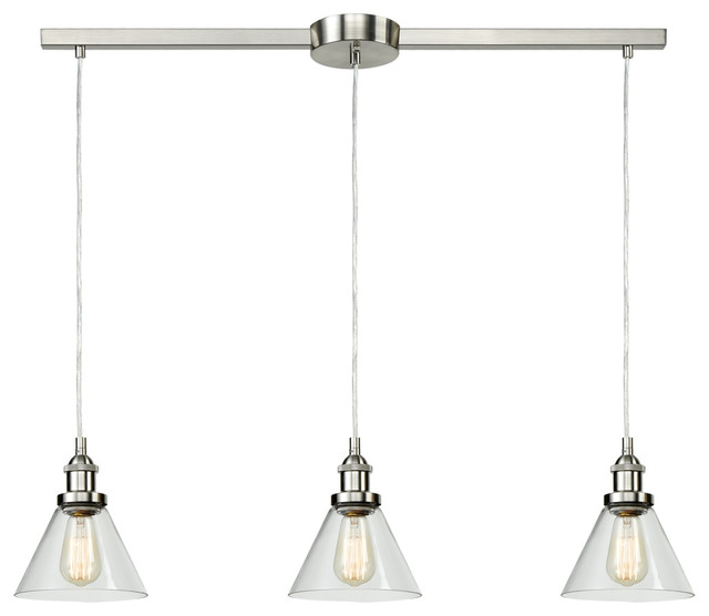 Industrial 3 Light Kitchen Island Lighting Glass Pendant Lights Bell Bn