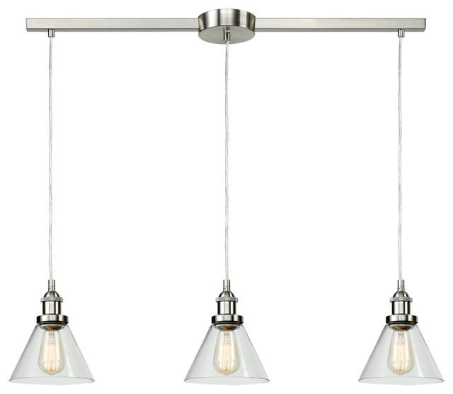 Industrial 3-Light Kitchen Island Lighting Glass Pendant Lights, Bell-Bn