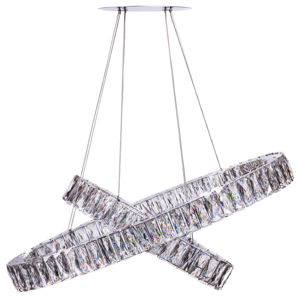 Finesse Decor Crystal Two Tier Oval Chandelier