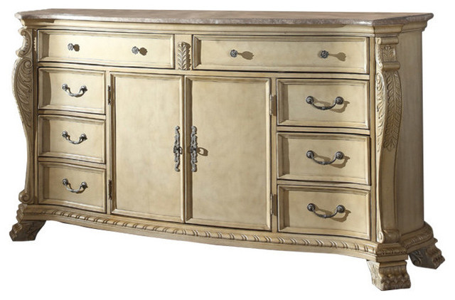Monaco Antique White Dresser Traditional Dressers