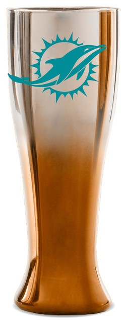 Miami Dolphins 2 Color Glass Pilsner Contemporary Beer