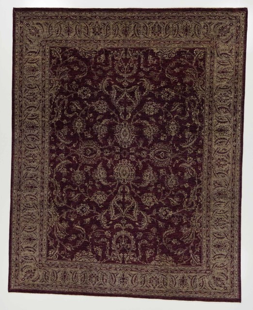 Chobi Ziegler Oriental Area Rug With Borders Aubergine And