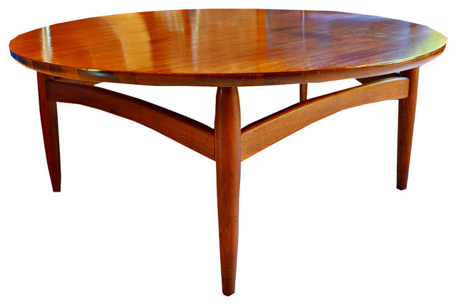 Consigned Mid Century Low Profile Round Coffee Table Midcentury - Low profile round coffee table