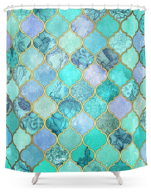 society6 cool jade and icy mint decorative moroccan tile pattern